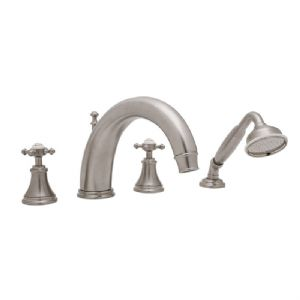 3649 Perrin & Rowe 4-hole Deck Mounted 10 inch C-Spout Bath Tap Set, With Handshower & Cross Handles